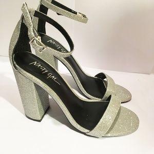 Sparkly Nasty Gal Ankle Strap Block Heels